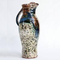 Blue Pitcher. Terracotta with slip, underglaze print and lustre, 2012.