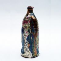 Bottle with Roses.Terracotta with slip, underglaze print, decals and lustre, 2012.