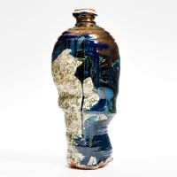 Large Blue Buckled Vase with Lustre, height 40cm. 2013.