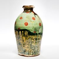 Medium Green Vase with Red Floral Motif, height 27cm. 2013.