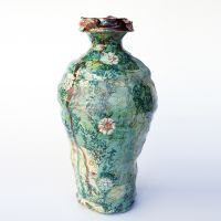 Small Green Vase with Lustre, height 25cm. 2014.