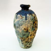 Medium Vase with Turquoise and Dark Blue, height 26cm. 2014.
